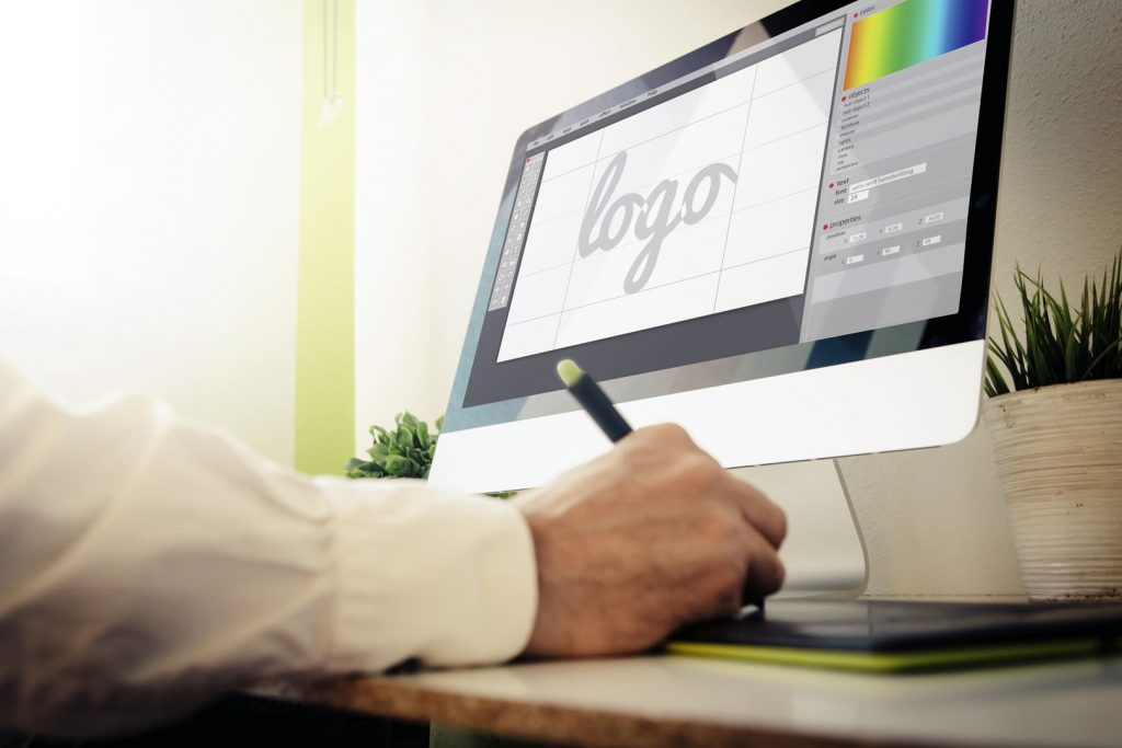 Photo of logo design on a computer