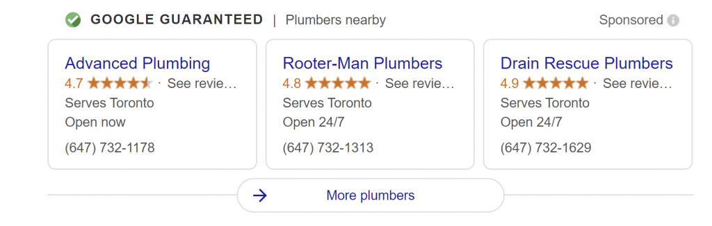 google local services results